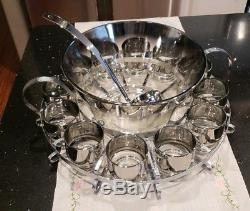 Vintage Dorothy Thorpe Silver Fade Complete Punch Bowl Set + Bonus Ice Bucket