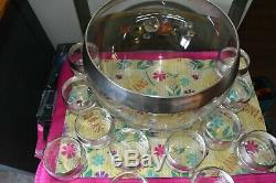Vintage Dorothy Thorpe Silver Rim Glass Punch Bowl set with 12 Matching Roly Pol