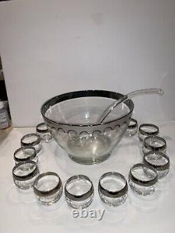Vintage Dorothy Thorpe Silver Rim Roly Poly Punch Bowl With 12 Glasses Mint