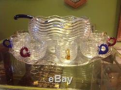 Vintage Duncan Miller Caribbean Glass Punch Bowl withPlatter, Ladle & 11 Cups