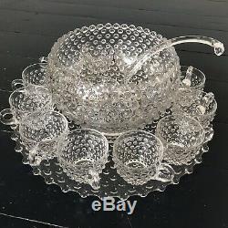 Vintage Duncan Miller Hob Nail Glass Punch Bowl Set Platter 12 Cups & Ladle