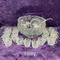 Vintage EAPG L. E. Smith Punch Bowl with 18 Cups Slewed Horseshoe Pin Wheel & Star