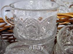 Vintage EAPG Pressed Glass Punch Bowl Set 18 Cups Plus Glass Ladle Daisy Button