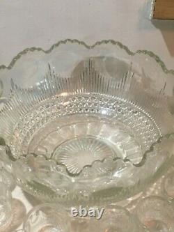 Vintage EMPG Pressed Glass MANHATTAN Pattern Large Glass Punch Bowl with 23 Cups