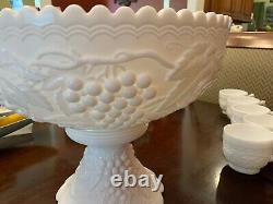 Vintage Early Imperial Milk Glass Grape Punch Bowl Set With10 Cups