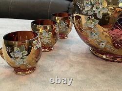 Vintage Egermann Moser Bohemian Ruby Enamel Glass Punch Bowl Set Complete