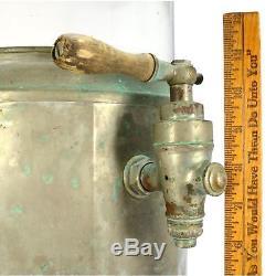 Vintage FOLK ART AQUARIUM or PUNCH BOWL Homemade 3-GAL PYREX + COPPER BASE Odd