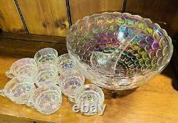 Vintage Federal Glass Iridescent Thumbprint Punch Bowl with 8 cups MINT