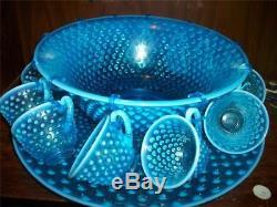 Vintage Fenton Blue Hobnail Opalescent Punch Bowl Set