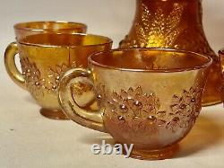 Vintage Fenton Carnival Glass Dark Marigold Orange Tree 8pc Punch Bowl & Cup Set