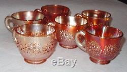 Vintage Fenton Carnival Glass Punch Bowl & Base & 6 Cups Marigold Orange Tree