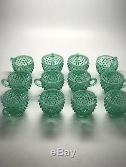 Vintage Fenton Hobnail Green Opalescent Punchbowl Connoisseur Collection