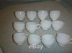 Vintage Fenton Hobnail White Punch Bowl And Cups With Torte (Under Plate) NICE