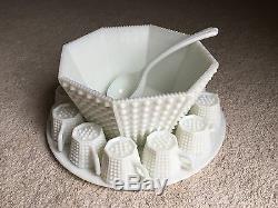 Vintage Fenton Milk Glass Hobnail Octagon Punch Bowl 12 Cups Ladle Torte WOW