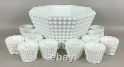 Vintage Fenton Milk Glass Hobnail Octagonal Punch Bowl Set with 12 Cups