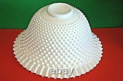 Vintage Fenton Ruffled Edge White Hobnail Milk Glass Punchbowl Set 12 Cups