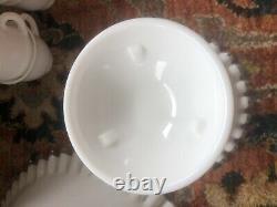 Vintage Fenton Silver Crest Milk Glass Punch Bowl, Base, 6 Cups