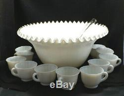 Vintage Fenton Silver Crest White Milk Glass Punch Bowl, Ladle and 11 Cups