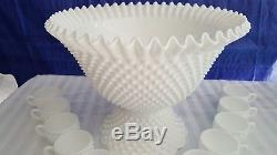 Vintage Fenton White Hobnail Punch Bowl Milk Glass 12 Cups Hooks Base FREE SHIP