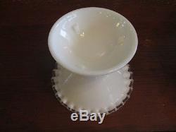 Vintage Fenton White Milk Glass Ruffle edge Silver Crest Pedestal Punch Bowl