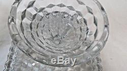 Vintage Fostoria American Crystal Glass Punch Bowl with Cake Stand Base