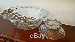 Vintage Fostoria American Large 18 Punch Bowl With Base & 12 cups No Chips