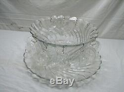 Vintage Fostoria Colony Glass Punch Bowl Set With Underplate/Tray & 12 Cups