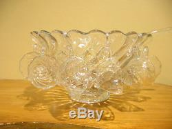Vintage Fostoria Colony Punch Bowl with 12 Cups and Glass Ladle