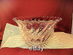 Vintage Fostoria Crystal Colony Pat. Nice Heavy Punch Bowl 13 3/4 W x 7 7/8 T