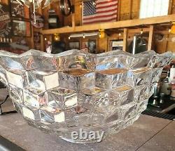 Vintage Fostoria Elegant Glassware Large 18 American Clear Glass Punch Bowl