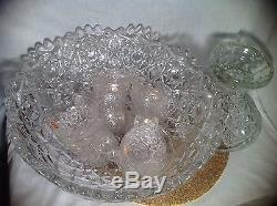 Vintage Fostoria Rosby Punch Clear Glass Bowl Set With Stand & 12 Cups with Labels