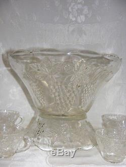 Vintage Glass Punch Bowl with Stand & 12 Cups Harvest Grape Pattern