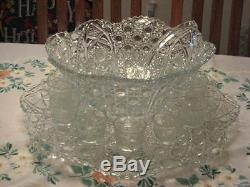 Vintage Glass Punch Bowl with Underliner Platter