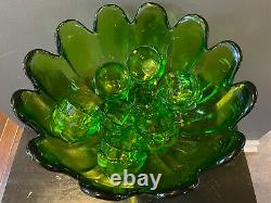 Vintage Green Glass Punch Bowl Tulip Shape Punchbowl Tulip Glasses VERY HEAVY