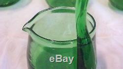 Vintage Green Naha Okinawan punch bowl set of twelve glasses