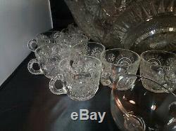 Vintage HTF Massive 17 Flared Rim Slewed Horseshoe Punch Bowl Set Glass Ladle