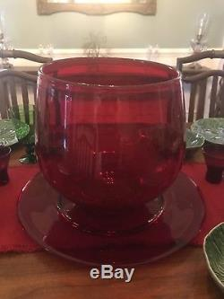 Vintage Handblown Red Punch Bowl Plate Cups Christmas Huge Blenko