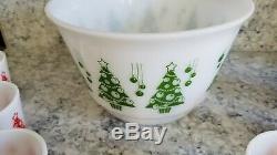 Vintage Hazel Atlas Christmas Tree Egg Nog Set Punch Bowl and 8 Red Cups