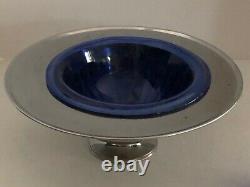 Vintage Hazel Atlas Chrome & Cobalt Punch Bowl with8 cups circa 1930's-40's
