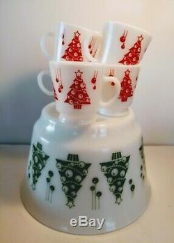 Vintage Hazel Atlas Milk Glass Christmas Punch Bowl Egg Nog Bowl 5 Cups Minty