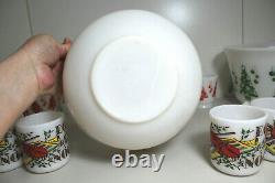 Vintage Hazel Atlas Milk Glass Violin Musical Egg Nog Punch Bowl Set 4 Mugs
