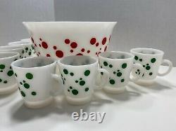 Vintage Hazel Atlas Polka Dot Christmas Eggnog/Punch Bowl Set with 8 Cups