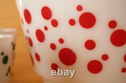 Vintage Hazel Atlas red & green polka dot punch bowl set 6 cups