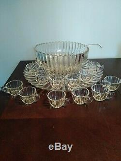 Vintage Heisey Large Ribbed Glass Punch Bowl Set Underplate 12 Cups Glass Ladle