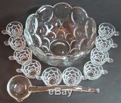 Vintage Heisey Pressed Glass Whirlpool 5 Quart Punch Bowl 10 Cup & Ladle Set