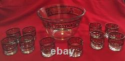Vintage Houze Cera Merry Christmas Holly Stain Glass Punch Bowl Set