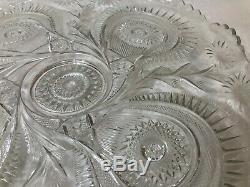 Vintage Huge L. E Smith Glass Punch Bowl Underplate, Pinwheel Star, 22 Diameter