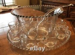 Vintage Imperial Candlewick Clear Punch Bowl with Underplate Ladle 8 Cups