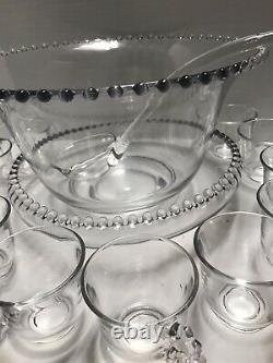 Vintage Imperial Candlewick Glass Punch Bowl Set with Ladle Underplate 16 Cups