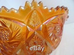 Vintage Imperial Carnival Glass 2 pc Punch Bowl Set 12 Cups Exquisite Marigold